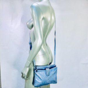 Hobo Light Blue Leather Embossed Crossbody Bag